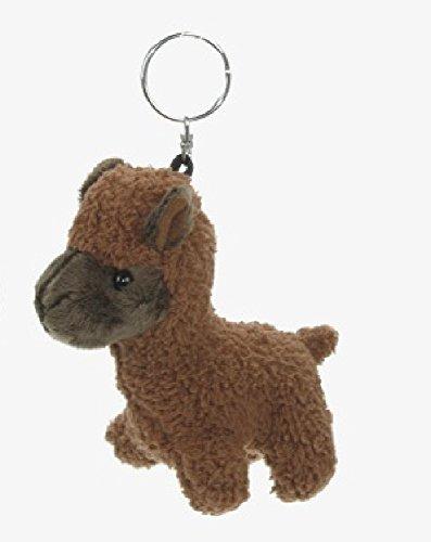 Portachiavi con alpaca in peluche, marrone, lama, animali