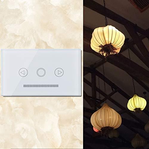 Voluxe Interruptor de luz WiFi, Interruptor Inteligente, Interruptor de atenuación LED de 110-240 V CA Panel de Vidrio Templado incandescente para lámparas Fluorescentes de Oficina(White)