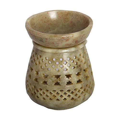 Casa Moro Orientalische Duftlampe Shakir-2 aus Soapstone geschnitzt 10x10x11 cm (B/T/H) ätherisches Öl Diffusor, Teelicht-Halter für Aromatherapie, Handmade Aromalampe | SL3020
