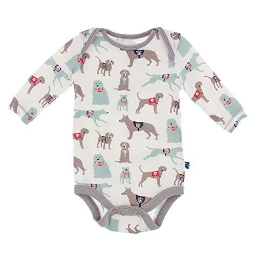 KicKee Pants Print Long Sleeve One Piece (Natural Canine First Responders - 3-6 Months)