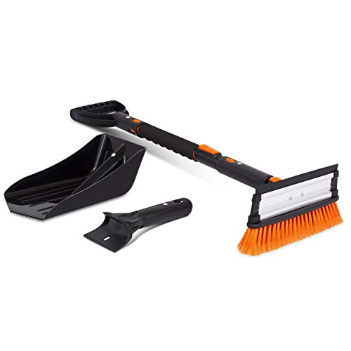 Snow Moover 39' Extendable Snow Brush with Squeegee, Ice Scraper & Emergency Snow Shovel - Foam Grip...