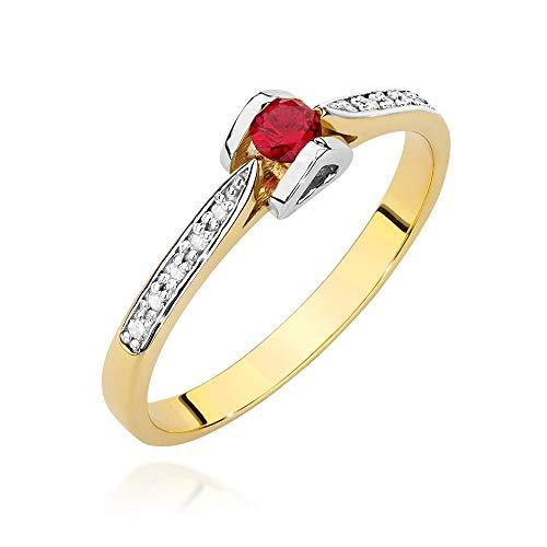Anillo para mujer de oro amarillo 585 de 14 quilates, rubí auténtico, piedras preciosas, diamantes