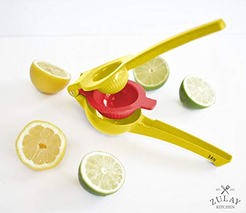 Top Rated Zulay Premium Quality Metal Lemon Lime Squeezer - Manual Citrus Press Juicer (Aspen Gold and Princess Blue) |