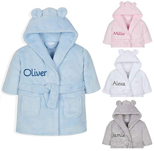 Personalised Embroidered Baby Bath Robe Dressing Gown Boy Girl Gift Pink/Blue/White Soft Teddy Ears Present 0-24 Months (Blue, 0-6 Months)
