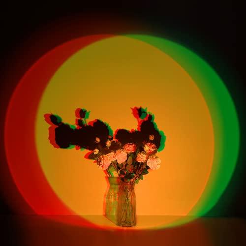 Sunset Lamp, RGB Sunset Sunset Lamp, Proyector de puesta de sol con 7 colores y 6 modos dinámicos, romántico, USB, decoración LED para dormitorio, salón, pared, lámpara de pie, imágenes grandes