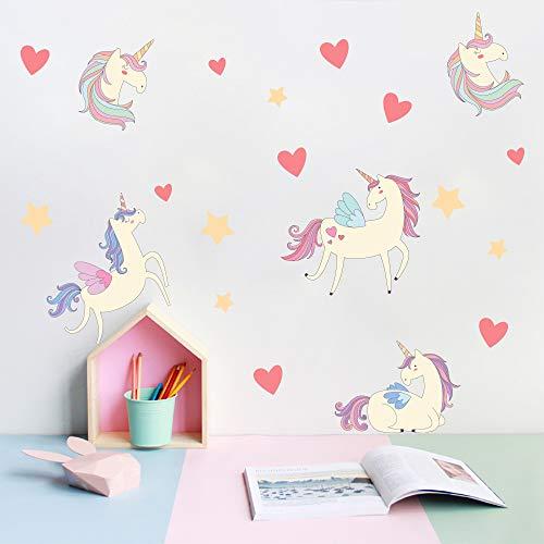 Cartoon Cute Unicorns Star Heart Wall Stickers Wallpaper DIY Vinyl Home Wall Decals Kids Living Room Bedroom Girls Room Decor (Unicorns (2pcs))