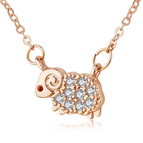 Kruckel I am The Lord's Sheep Rose Gold Plated Necklace Made with Zircon - 5011021