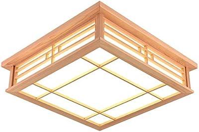 Amazon.com: CGHYY Lámpara de Techo LED de Madera Sólida ...
