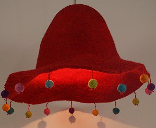 Guru-Shop Kinderzimmer Lampenschirm Happy Hut, Rot, Filz, Farbe: Rot, 20x30x30 cm, Stofflampenschirme