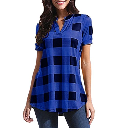 OSYARD Frauen Retro Plaid Hemden Oberhemd Vintage Kurzarm Oberteile Oversize, Damen Lässige Tunika Top Hemd Locker Langarm V Ausschnitt Kariertes Henley Shirt Bluse T-Shirt