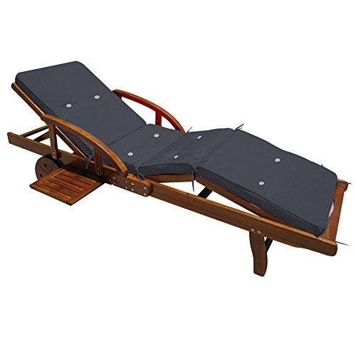 Detex® Coussin pour transat Chaise Longue de Jardin Gris Anthracite 196 cm Relax