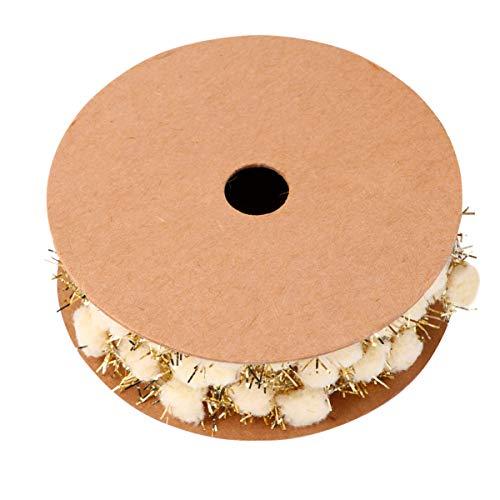 HEALLILY Pompones de Purpurina Navideña 3M Cinta de Pompones Navideños Cinta Decorativa de Árbol de Navidad para Navidad Accesorio Artesanal de Bricolaje (Oro)