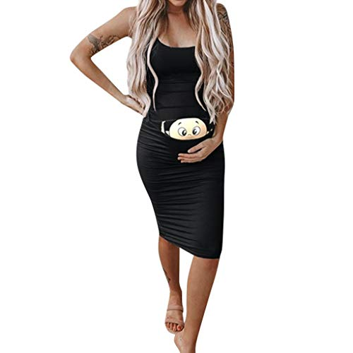 Vestido Estampado de Dibujos Animados de Mujer Embarazada Vestido de sin Mangas para premamá Personalizadas cómodo Transpirables Vestido