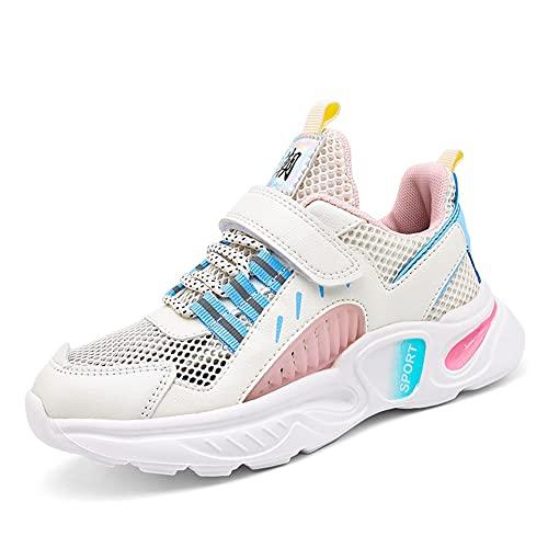 BLBK Zapatillas de deporte para niños, para correr, para niños, para el colegio, para interiores, para el verano, al aire libre, para niños., Rosa., 36 EU