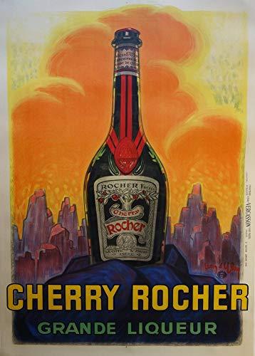 Vintage bieren, wijnen en sterke drank 'Cherry Rocher', 250gsm Zacht-Satijn Laagglans Reproductie A3 Poster