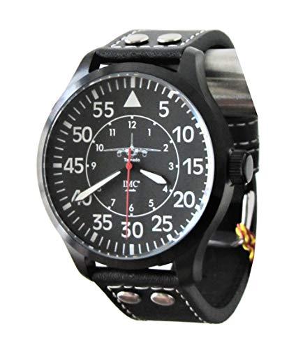 IMC Tornado - Reloj de pulsera para hombre con correa de piel y carcasa de acero inoxidable