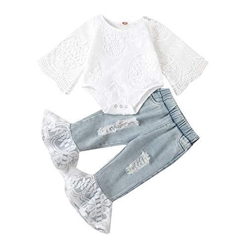 Toddler Girl Clothes - Conjunto de 2 piezas para recién nacido con mono de pijama, camiseta de vaqueros con cintura alta, camisa informal y pantalones con rayas blanco 18- 24 Meses