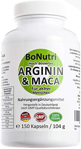 Maca 3600 mg & Arginin 3000 mg 150 vegane Kapseln Qualität aus Deutschland Ohne Magnesiumstearat Vegan Glutenfrei Laktosefrei DER L-Arginin VERGLEICHSSIEGER 2020 bei vergleich.org