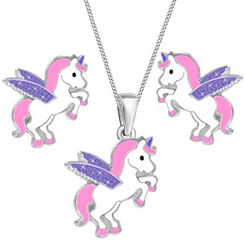 Glitzer Flügel Pegasus Einhorn Set Anhänger Kette Ohrstecker 925 Echt Silber Kinder Mädchen (Rosa-Lila, 38)