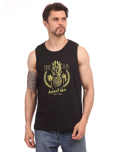 Street Industries Casual - Camiseta de tirantes para hombre, diseño de aventura tropical, atlética