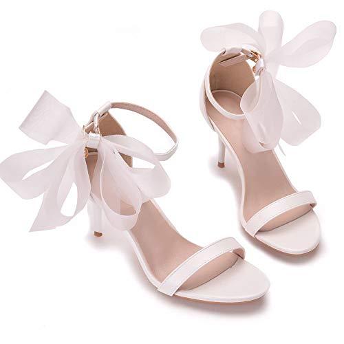 DEAR-JY Zapatos de Novia para Mujer,Zapatos de tacón,7cm Temperamento Sandalias con Lazo...