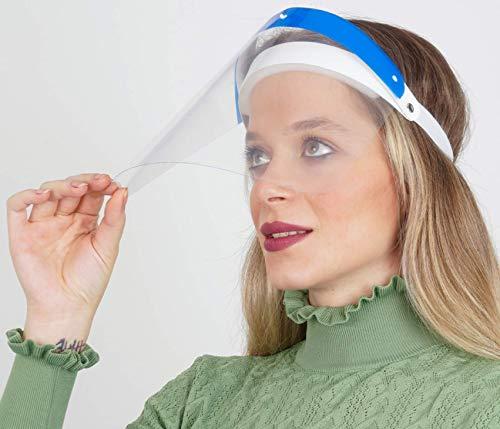 Königsart® Aufklappbar Gesichtsschutz Visier aus Kunststoff Transparentes Gesichtsvisier mit verstellbarem Gummiband - Für Mann/Frau/Kind - Blau