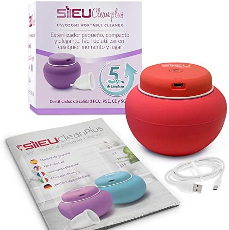Sileu Clean Plus - Esterilizador Eléctrico Recargable USB Compacto para Copas Menstruales - Lámpara de Cuarzo UV y Ozono - Azul