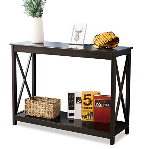 Leisure Zone Brown Wooden Console Table, PC Computer Study Writing Desk with Shelf Storage Hall Desk Size: W 110 x D 38 x H 80 cm