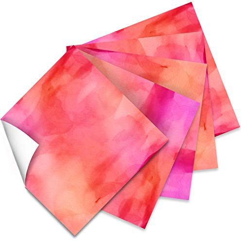 Craftopia Craft Vinyl Squares - 12 x 12-Inch Watercolor Patterned Sheets for Design Transfers DIY Crafts, Scrapbooking - Decorative Supplies for Decals & Signs (Pink)