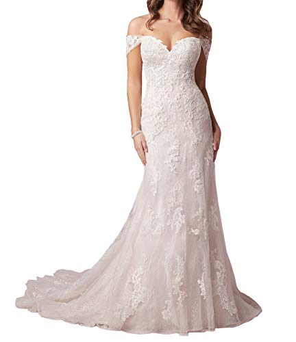 La_Marie Braut Weiss 2021 NeuSpitze Brautkleider Hochzeitskleider Standesamt Brautmode Silberhochzeit Kleider Lang Etuikleider-40 Weiss