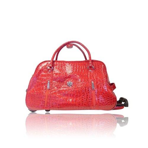 Ladies LYDC Designer Trolly Wheeled Luggage Mock Croc Wheeled Travel Holdall Cabin Trolley Case Bag (LYDC_Red)