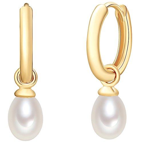 Valero Pearls Plata de ley 925 Perlas de agua dulce de cultivo Pendiente de aro con cierre catalan