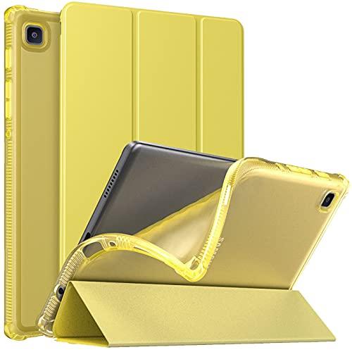 MoKo Funda Compatible con Samsung Galaxy Tab A7 Lite 8.7-Inch 2021 Tableta(SM-T225/SM-T220), Cubierta Protectora Plegable Delgada TPU Trasera Transparente con Soporte Triple, Amarillo Brillante