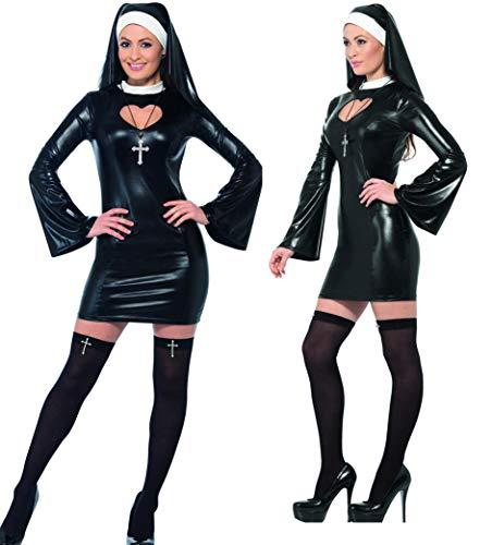 Party-Teufel® Sexy Nonnenkostüm mit Kleid Nonnenhaube Overknee-Strümpfe und Kreuzkette Gr. L Junggesellenabschied
