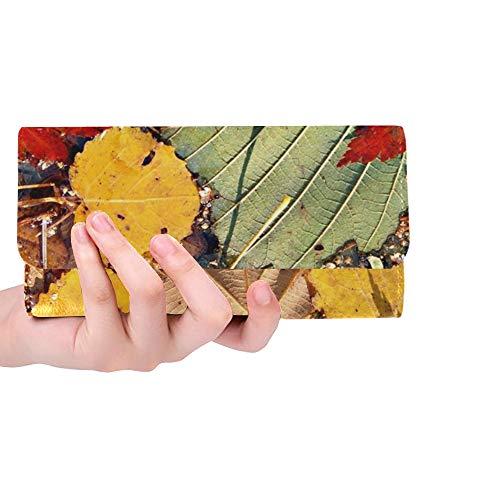 JOCHUAN Litera coloreada otoñal de encargo única de la hoja de arce de las mujeres Foto de archivo Bolso largo de la cartera del titular de la tarjeta de crédito del monedero de la cartera triple