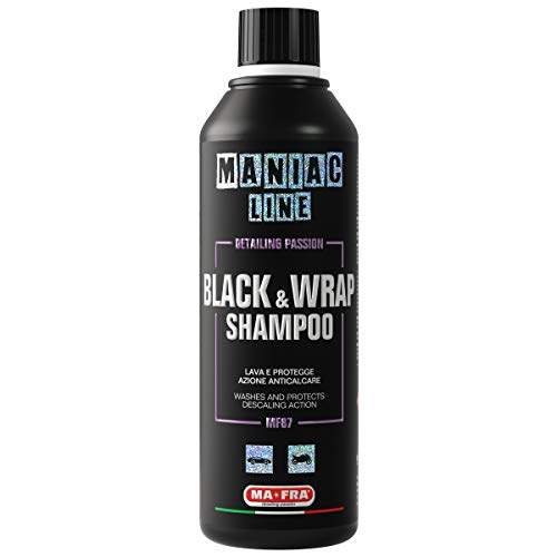 Mafra, Maniac Car Detailing Line, Black & Wrap Shampoo, Shampoo 2in1 con Azione Lucente e Antimacchia, Adatto per Auto Nere, Wrappate o Finitura Opaca, 500ml