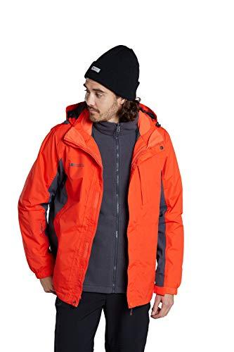 Mountain Warehouse Thunderstorm Mens 3 in 1 Jacket - Breathable Winter Mens Coat, Waterproof Rain Coat, Taped Seams, Detachable Inner Fleece Rain Jacket - for Travelling Orange S