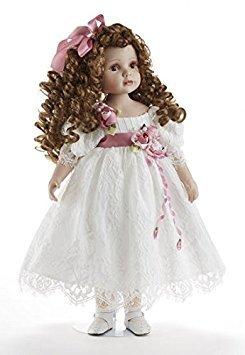 """Delton 22"""" Porcelain Doll  Lorraine , White Lace Dress"""