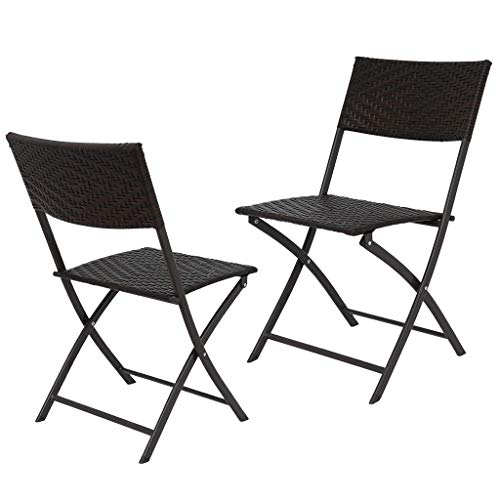 2 Piece Patio Folding Chairs,Outdoor Wicker Portable Camping Chair with Armrest High Backrest for Garden Patio Pool Beach Yard