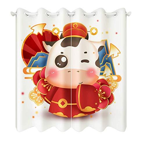 Cartoon New Year Small Cattle Pattern Blackout Short Curtains Fabrics Christmas Decor Roman Rod Curtain For Living Room 220X215Cm