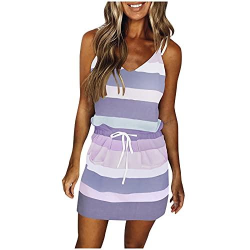 Vestido de Rayas Mujer Verano Casual Cuello V Manga Corta con cordón Vestido, Estampado a Rayas de Playsuit, Cintura con Lazo Maxi Vestido Bohemio Tirantes Playa Verano Vestido