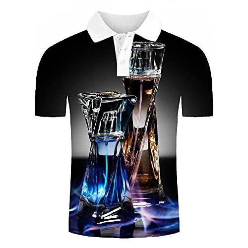 Polos Manga Corta Hombre - Camiseta De Manga Corta Informal Con Estampado 3D De Botella De Agua Azul,Camiseta De Verano Con Botones Y Botones Ligeros,Blusa Deportiva,Trajes De Blusa De Golf Para Hawai
