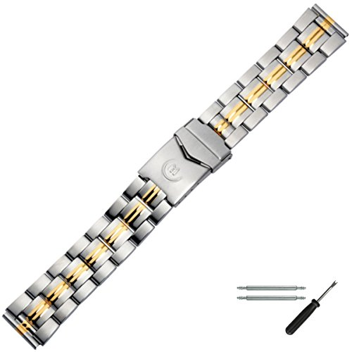 MARBURGER Uhrenarmband 18mm Edelstahl Silber Gold - Werkzeug Montage Set 84404000020