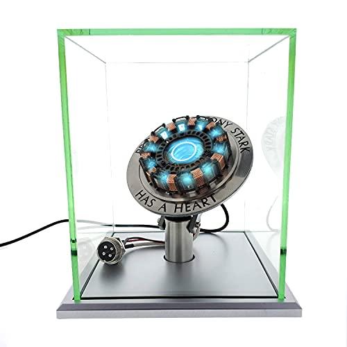 Iron Man Arc Reactor 1:1, sensor de vibración, luz LED, conexión USB, con vitrina, para colecciones, regalo de juguete