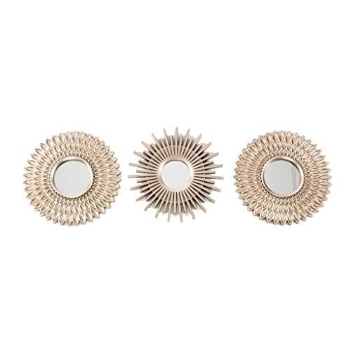 Set di 3 specchi decorativi da parete, dorati