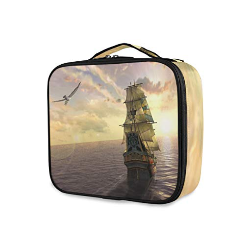 Portable Sunset Ocean Scenery Makeup Bag Tools Cosmetic Train Case Storage Purse Toiletry Pouch Travel