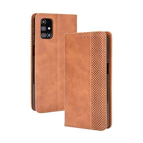 HAOTIAN Leder Hülle für Samsung Galaxy M31s Hülle, Premium PU/TPU Leder Folio Hülle Schutzhülle Handyhülle, Flip Hülle Klapphülle Lederhülle mit Standfunktion und Kartensteckplätzen, Brown