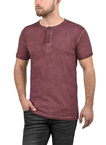 !Solid Tihn Herren T-Shirt Kurzarm Shirt Mit Grandad-Ausschnitt Aus 100% Baumwolle, Größe:L, Farbe:Wine Red (0985)