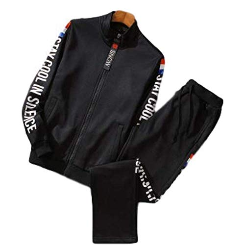 Miwaimao M-9XL Große Sportswear Anzug Herren Sportswear Herren Frühling und Herbst Reißverschluss Jacke Hosen Zwei Sets Sport Fitness Sportswear Anzug Gr. 9XL, Schwarz