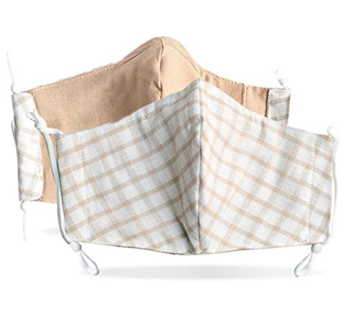 Triple Layered Fabric Face Mask with Filter Pocket Nose Wire Adjustable Ear Loops Washable Reusable (Adults, 2 Pack Linen Cotton Beige Check)
